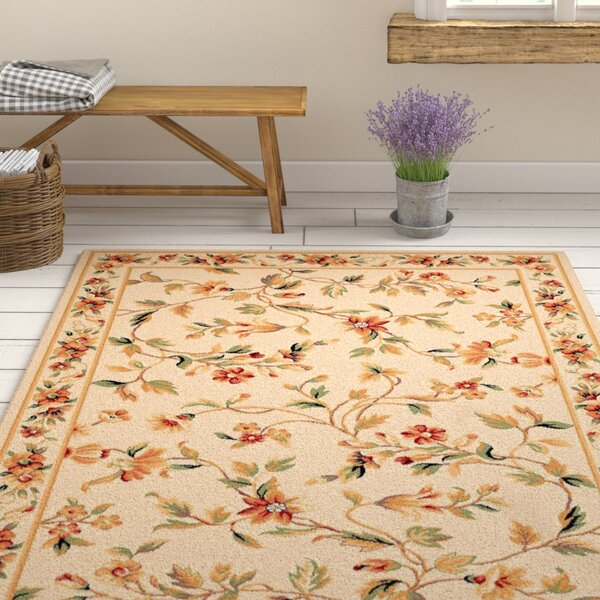 Verveine Ivory Floral Area Rug by August Grove
