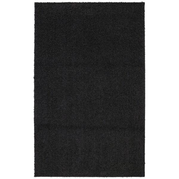 Keeton Bolster Shag Black Tufted Area Rug by Wrought Studio