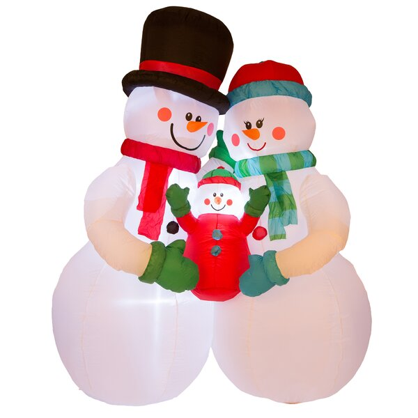 Lighted Snowman Family Decor Inflatable by Glitzho