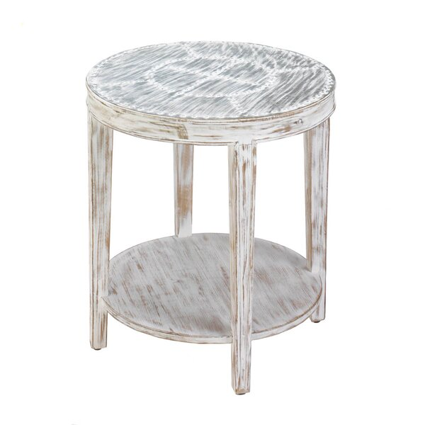Seward Distressed Round Wood End Table by Nikki Chu