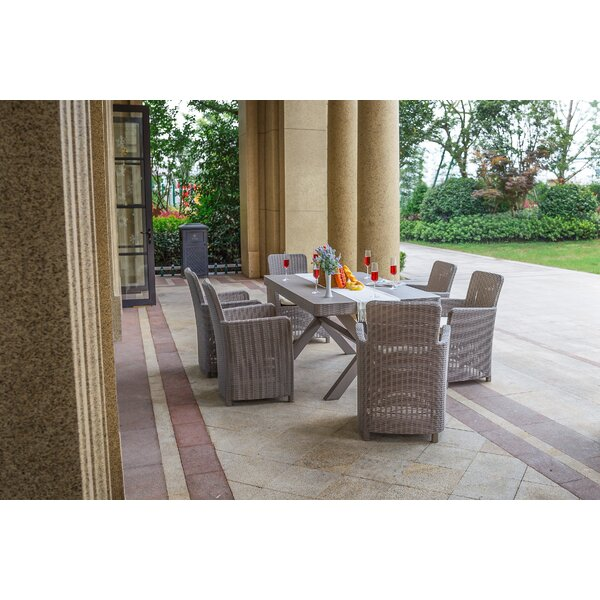 Rebeca 7 Piece Dining Set with Cushions by Rosecliff Heights
