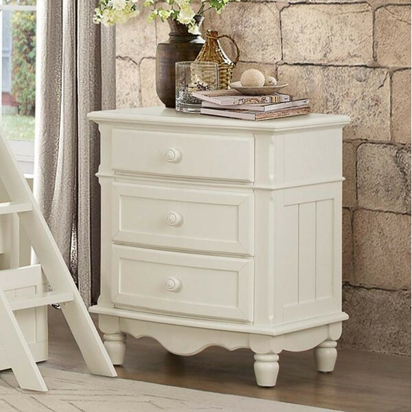 Mickelson Wood 3 Drawer Nightstand by August Grove