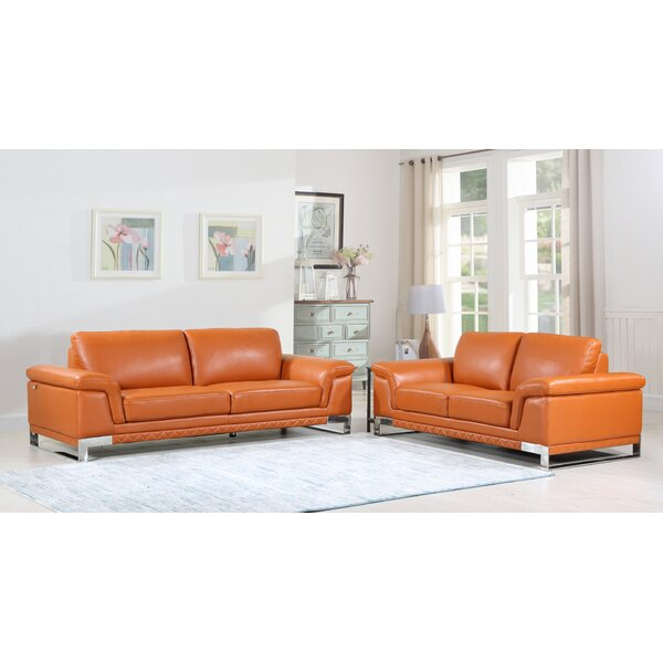 Lara Luxury Italian Leather 2 Piece Living Room Set (Set of 2) by Orren Ellis