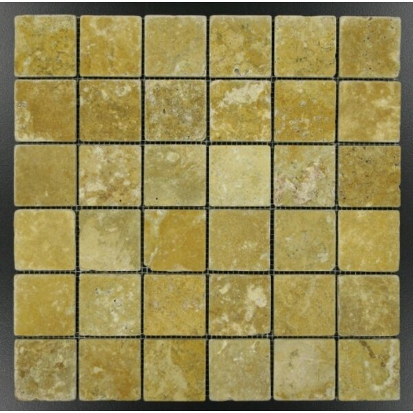 2 x 2 Mosaic Tile in Gold by Ephesus Stones