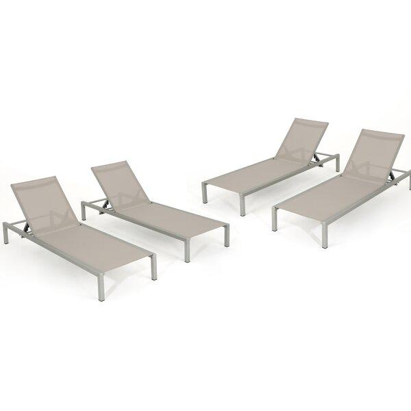 Sumfleth Reclining Chaise Lounge (Set of 4) by Latitude Run