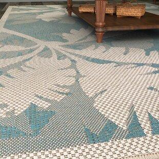 Odilia Coastal Flora Ivory/Turquoise Indoor/Outdoor Area Rug & Blue Outdoor Rugs Youu0027ll Love | Wayfair
