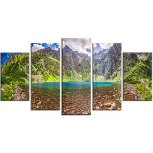 'Tatra Mountains Lake Panoramic View' 5 Piece Wall Art on Wrapped Canvas Set by Design Art