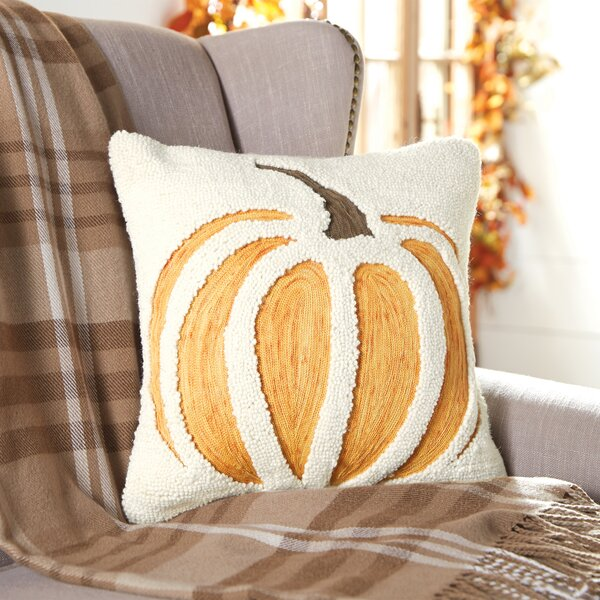 Pumpkin Hooked Wool Throw Pillow by Mud Pie™