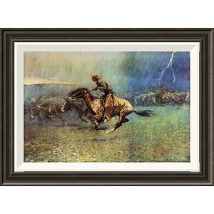 'The Stampede' by Frederic Remington Framed Painting Print by Global Gallery