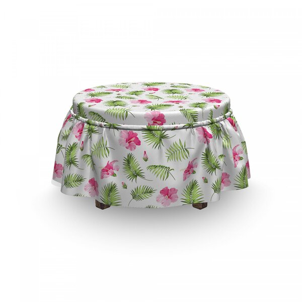 Up To 70% Off Hibiscus Palm Ottoman Slipcover (Set Of 2)