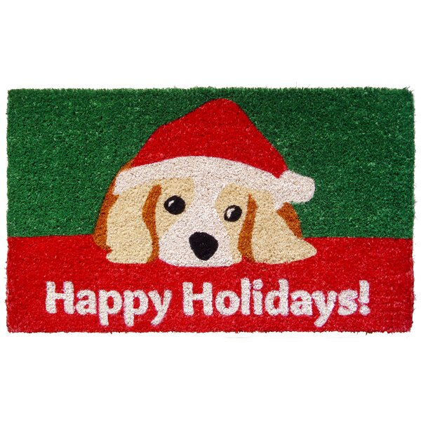 Handmade Dog Lovers Holiday Doormat by The Holiday Aisle