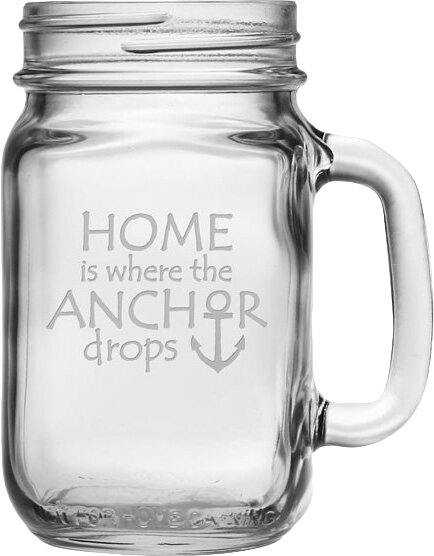 Where the Anchor Drops Drinking Jar (Set of 4) by Susquehanna Glass