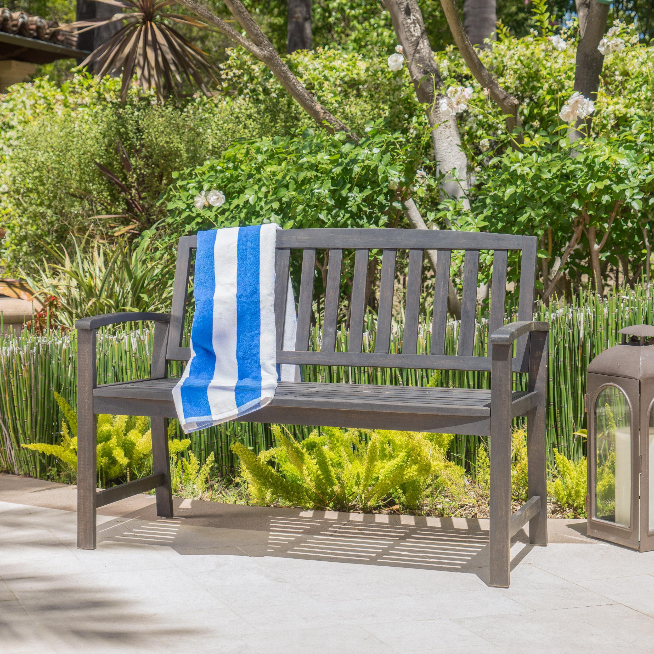 beachcrest home leora acacia wood garden bench reviews wayfair - Garden Bench