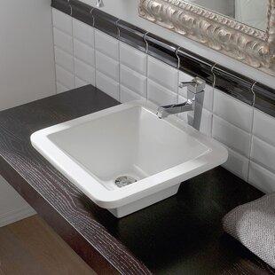 Best Deals Butterfly Ceramic Square Vessel Bathroom Sink ByScarabeo by Nameeks