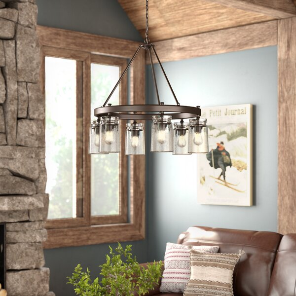Khloe 6 - Light Shaded Wagon Wheel Chandelier by Three Posts Three Posts