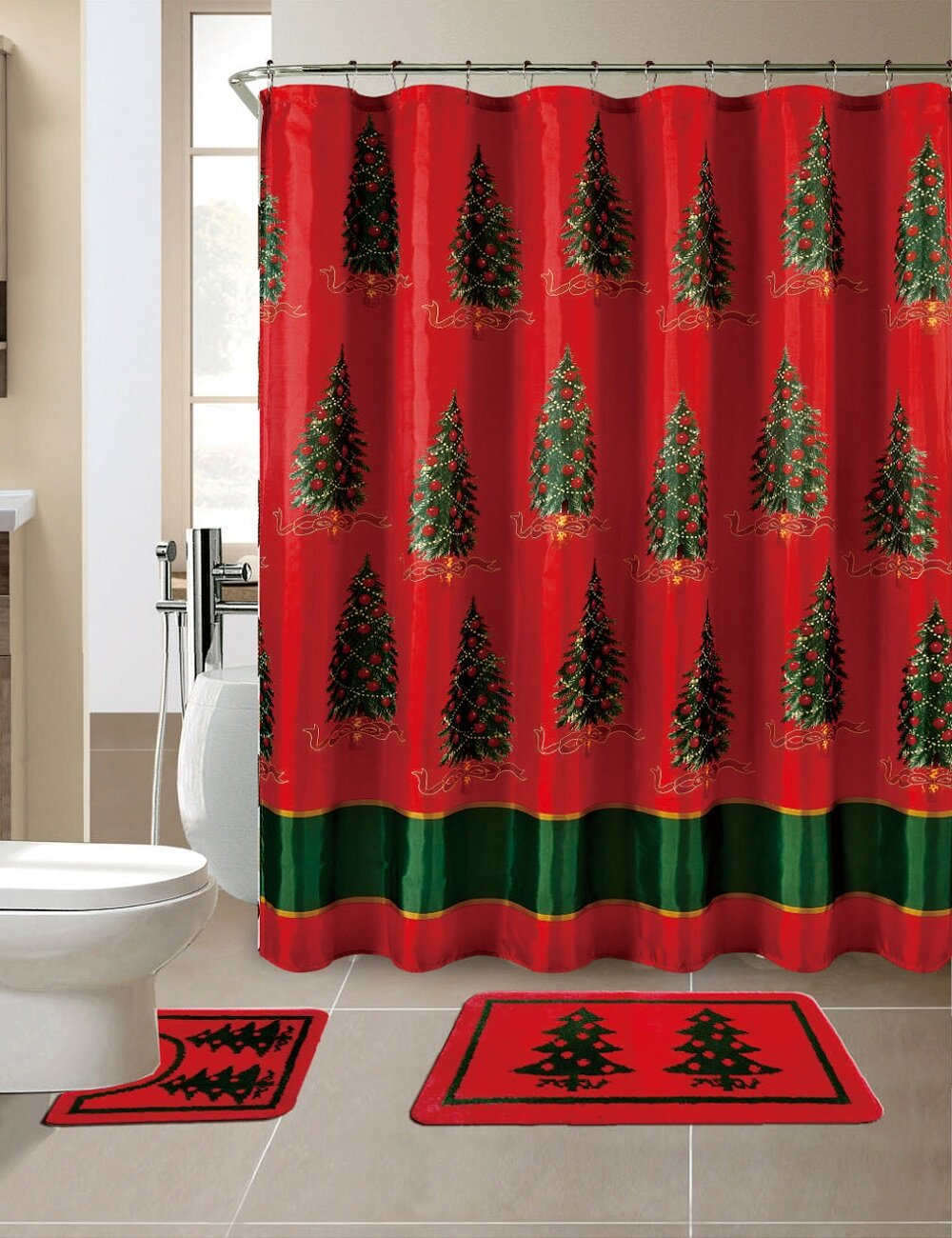 The Holiday Aisle 15 Piece Christmas Printed Bath Set