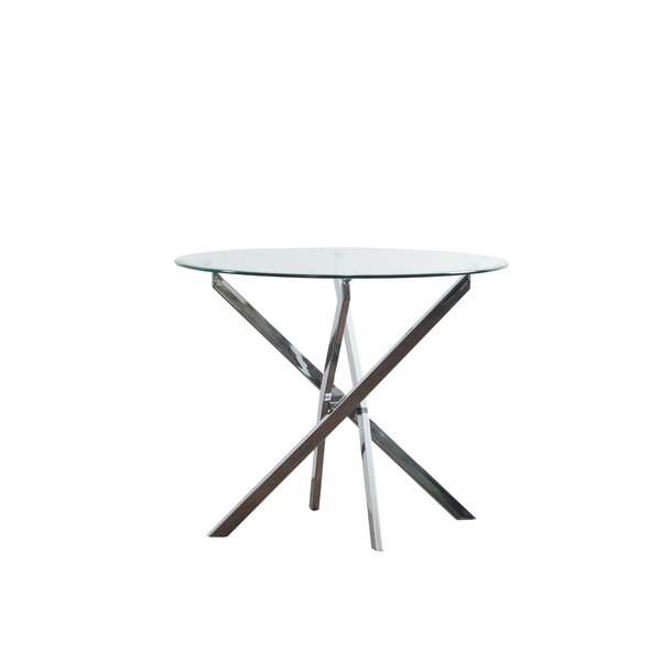 Jim Glass Pedestal Dining Table by Wrought Studio