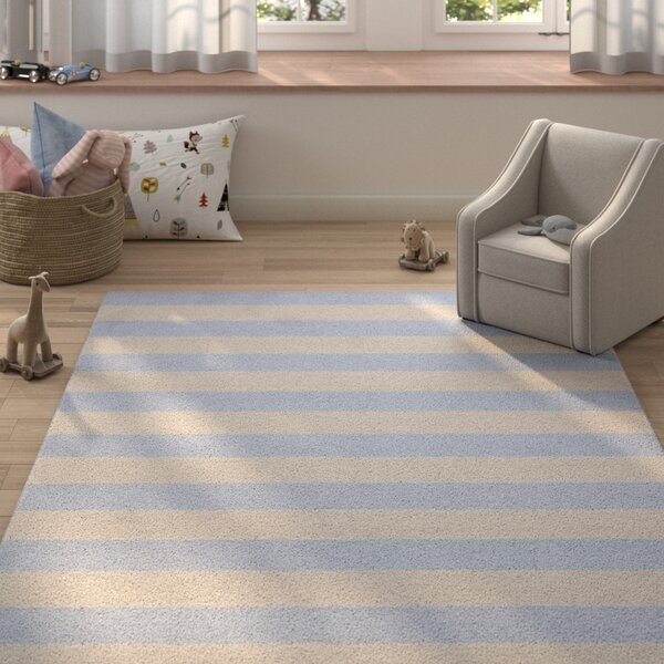 Croley Stripe Hand-Tufted Wool Silver/Light Blue Area Rug by Harriet Bee