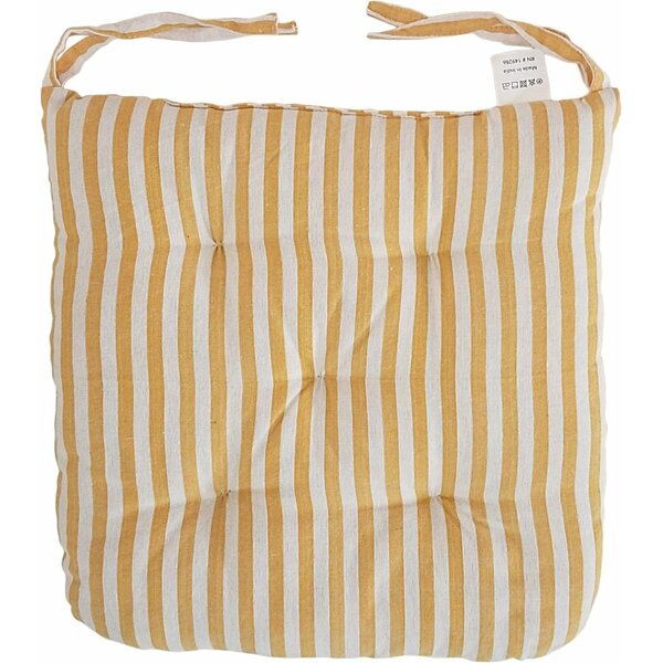 Melange 100% Cotton Round Square 16 x 16 Chair Cushions, Set of 12, Yellow Stripes (Set of 12)