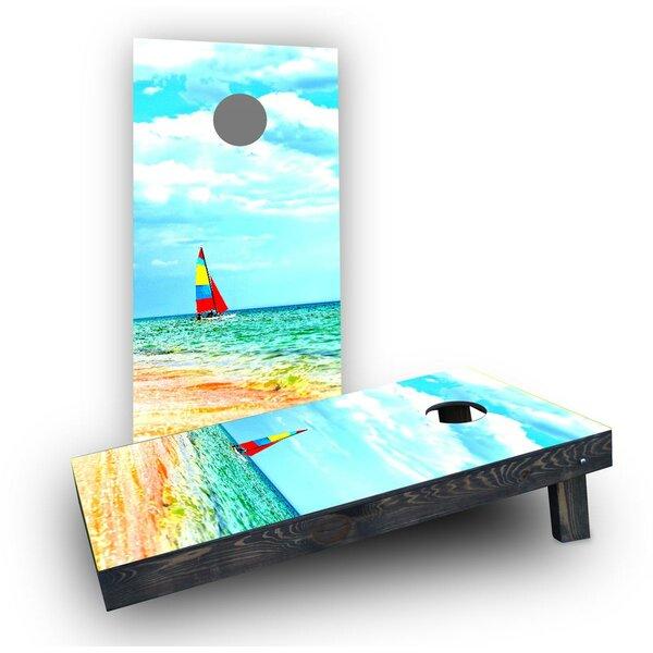 Boat Beach Cornhole Boards (Set of 2) by Custom Cornhole Boards