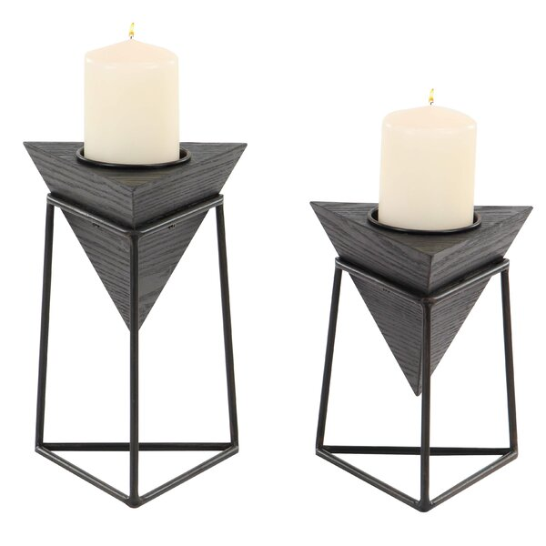 Modern Triangular 2 Piece Candlestick Set with Stand by Williston Forge