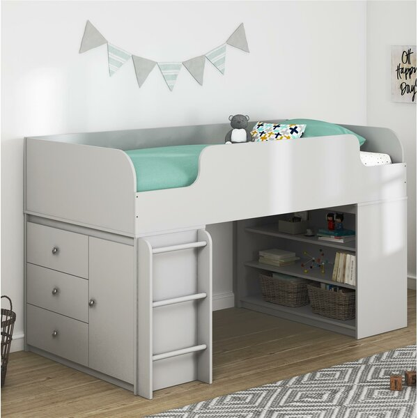 Amak Panel Twin Low Loft Bed with Drawers and Shelves by Mack & Milo