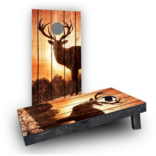 Sunrise Elk on Wood Slat Background Cornhole Boards (Set of 2) by Custom Cornhole Boards