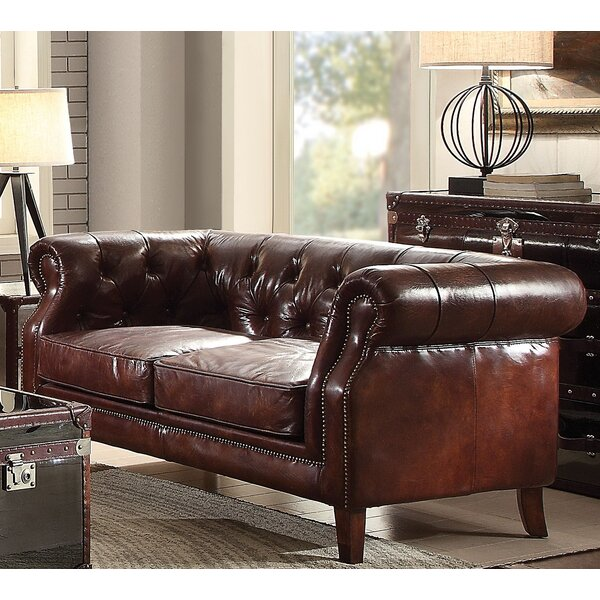 Bavis Leather Loveseat by Canora Grey