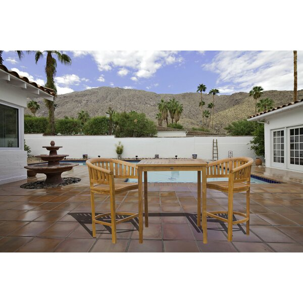 Meyer Patio 3 Piece Teak Bar Height Dining Set by Bay Isle Home
