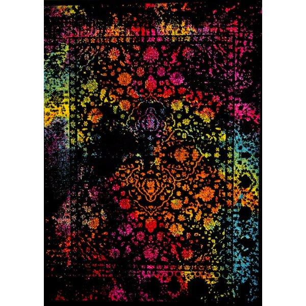 Stanko Distressed Red/Black/Pink Area Rug by Ebern Designs