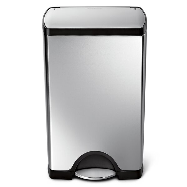 10 Gallon Rectangular Step Trash Can, Brushed Stainless Steel by simplehuman