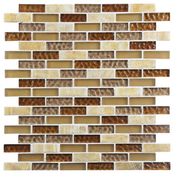 Sierra 0.58 x 1.88 Glass and Natural Stone Mosaic Tile in Amber by EliteTile