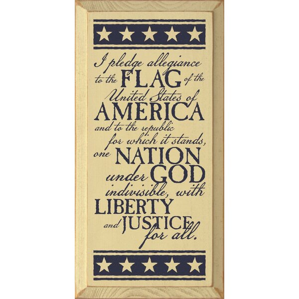 I Pledge Allegiance To The Flag Of The United States Of America Textual Art Plaque by Sawdust City