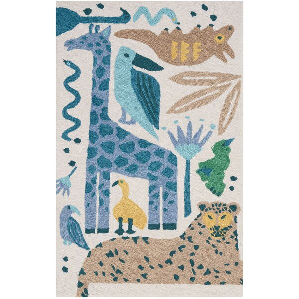 Crew Park Hand-Hooked Blue/Beige Area Rug by Harriet Bee