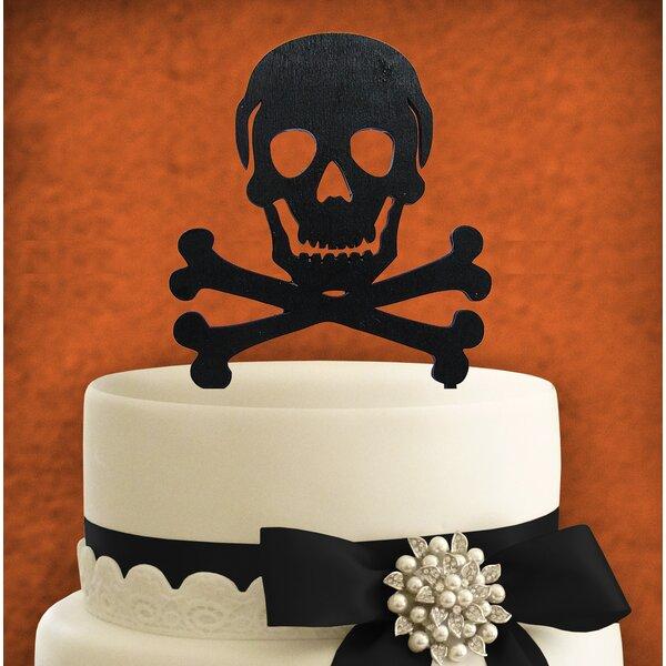 Skull Painted Cake Topper Wooden Cake Topper by aMonogram Art Unlimited