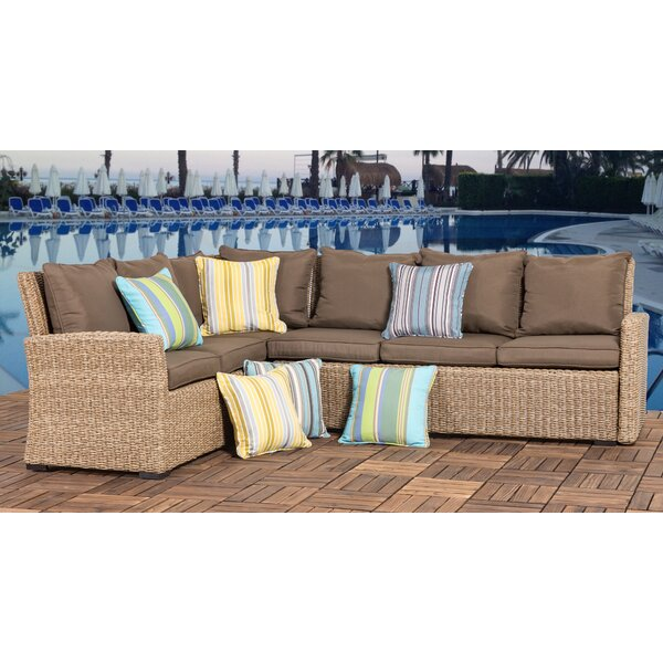 Yarber 2 Piece Rattan Sectional Seating Group with Cushion by Bay Isle Home