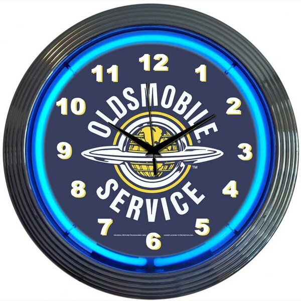 Cars and Motorcycles 15 Oldsmobile Service Wall Clock by Neonetics