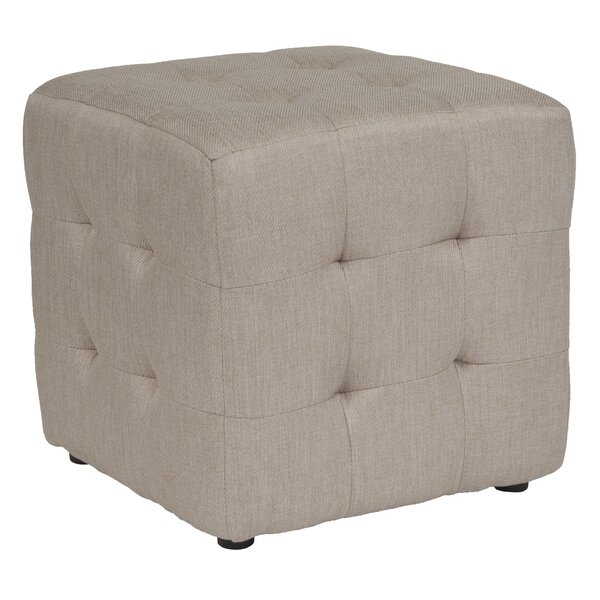 Rayl Tufted Upholstered Cube Ottoman by Charlton Home
