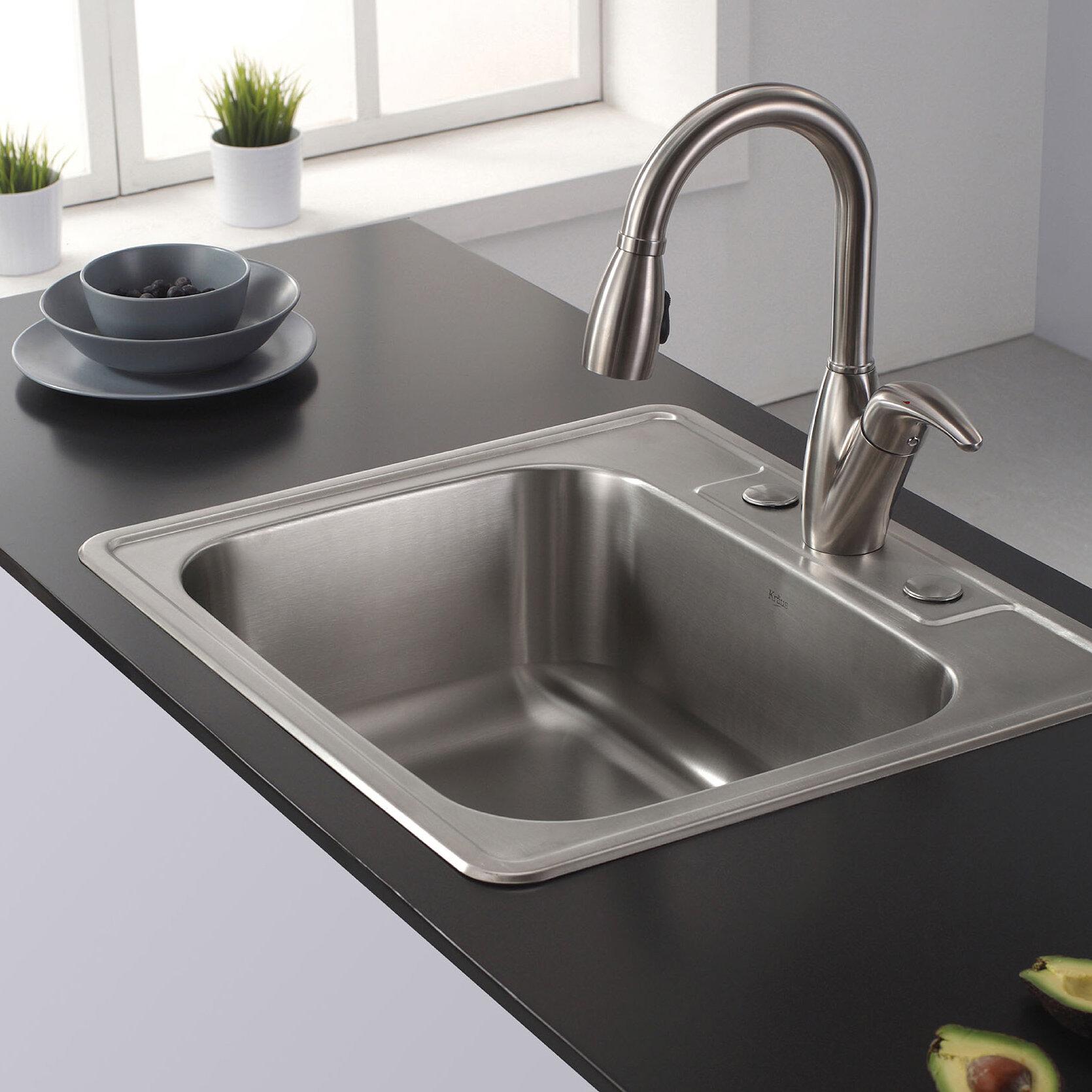 """Kraus 25"""" x 22 4"""" Drop In Kitchen Sink & Reviews"""