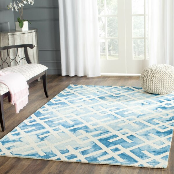 Castries Hand-Tufted Cotton/ Wool Blue/Ivory Area Rug by Bungalow Rose