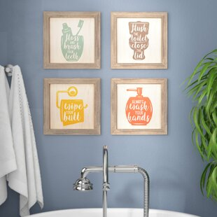 Floss Flush Wipe Wash Framed Graphic Art Print Set On Wood Of 4