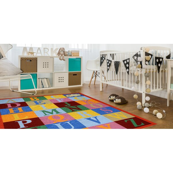 Jessee Alphabet Red/Blue Area Rug by Zoomie Kids