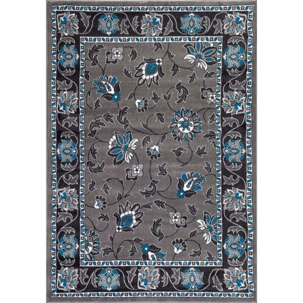 Turquoise/Gray Area Rug by Persian-rugs