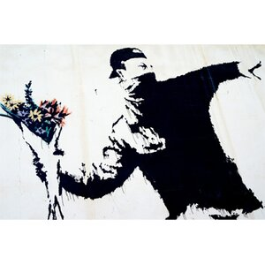 'Flower Thrower' by Banksy Painting Print on Wrapped Canvas by Pingo World