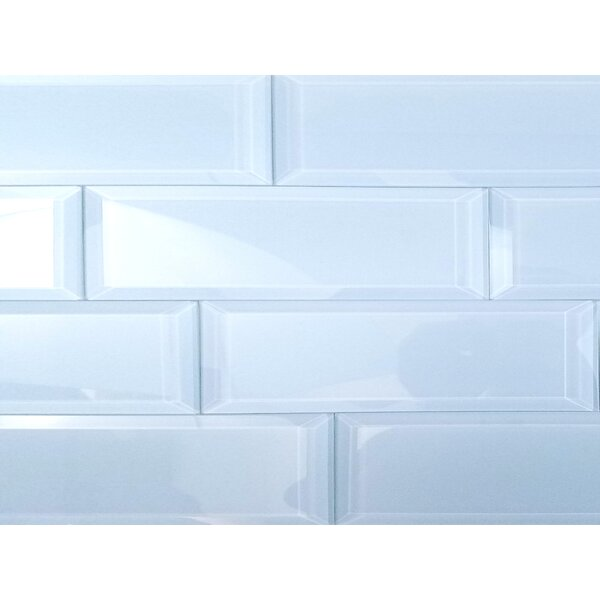 Frosted Elegance 3 x 12 Glass Subway Tile in Glossy Blue by Abolos