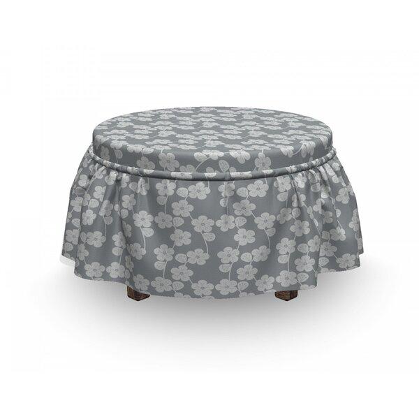Geometric Flower Buds Vintage 2 Piece Box Cushion Ottoman Slipcover Set By East Urban Home
