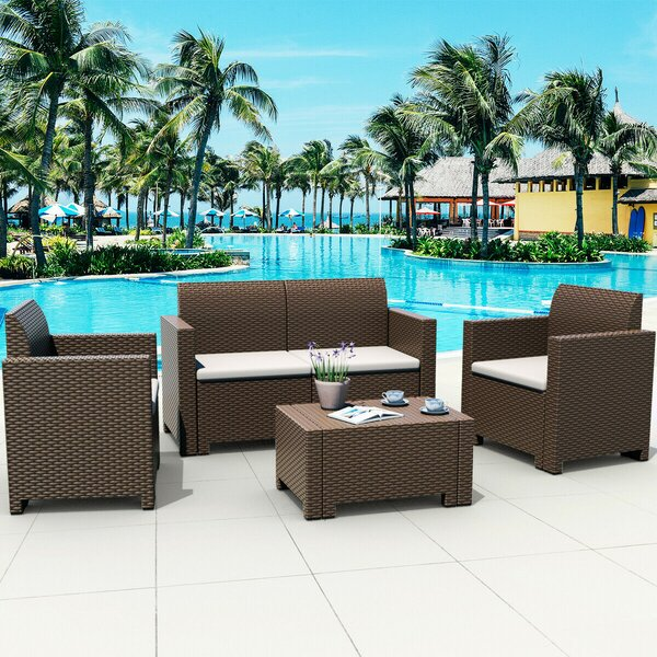Skyland 4 Piece Rattan Sofa Seating Group with Cushions by Ebern Designs