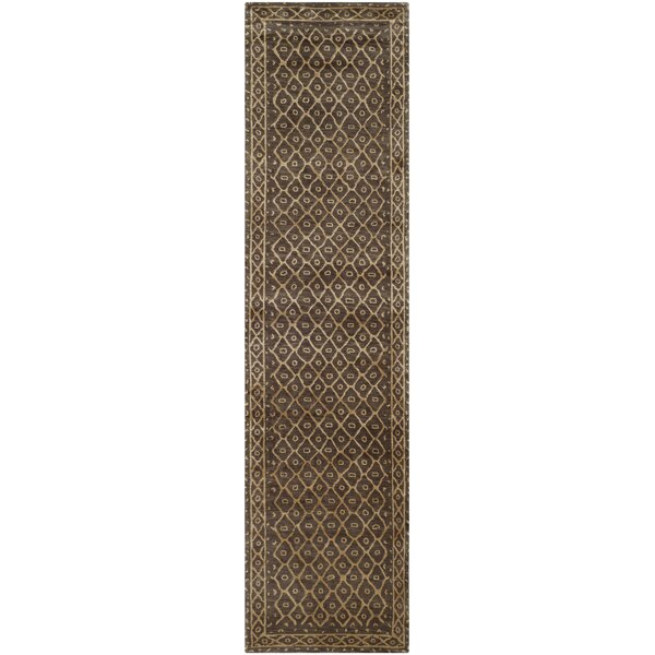 Lisson Hand-Knotted Wool/Silk Brown Area Rug