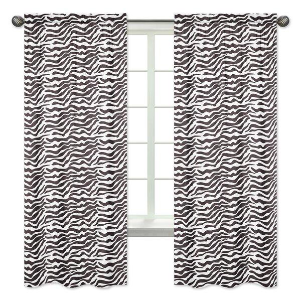 Zebra Animal Print Semi-Opaque Rod Pocket Curtain Panels (Set of 2) by Sweet Jojo Designs