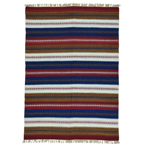 Flat Weave Striped Kilim Reversible Oriental Hand-Knotted Blue/Pink Area Rug by Bloomsbury Market